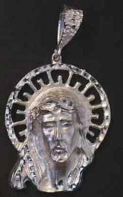 LOOK Large Authentic .925 STERLING SILVER MENS XL JESUS Face CHARM PENDANT Jewel