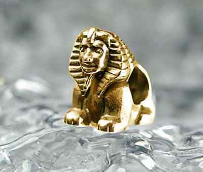 LOOK Egyptian EGYPT SPHINX 24k Gold plated Sterling Silver 925 Bead fit jewelry