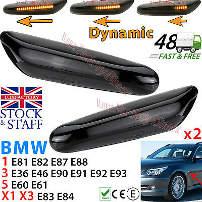Dynamic BMW LED Side Amber Indicator Marker (Smoked Case) 1/3/5/X1/X3 Series