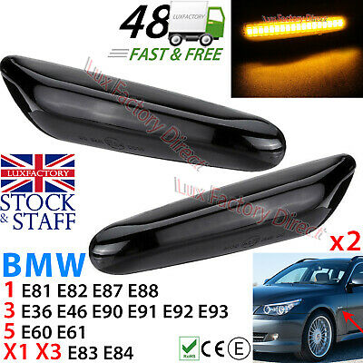 LED Side Amber Indicator Marker (Smoked Case) Bmw 1/3/5/X1/X3 Series Black Tint