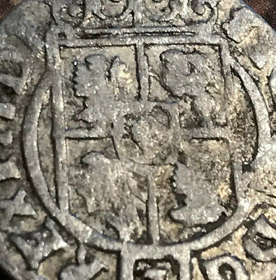 1600s SILVER European Coin Ancient Pirate Era Antique Old Christian Cross US