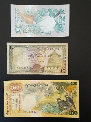 Central Bank Of Ceylon 5. 10. & 100 Rupees Notes