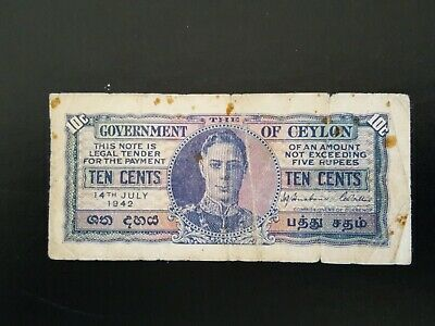 Government Of Ceylon 10 Cents Note 1942