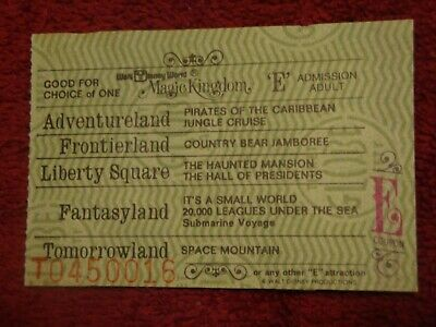 Disneyworld Rare E Ticket With 9 Attraction Choices, Last Years Of A-E Tickets