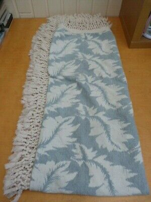 Modern Pale Blue Coloured White Leaf Pattern Blanket Throw Tassle Ends 166x124cm