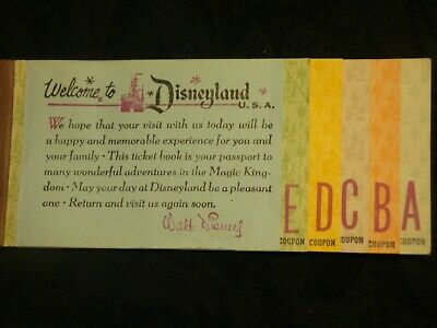 Disneyland Large October 1966 A-E Ticket Book With 5 Tickets & Walt's Signature