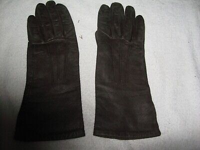 Vintage Ladies Gloves Pair Of Brown ? Leather/Faux Leather