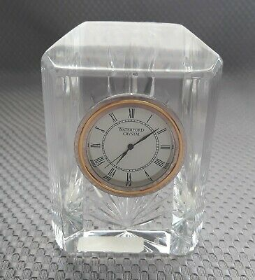 "Waterford Crystal Colonade 4"" Small Desk Clock Art Deco Design Glass"