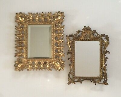 Vintage.....two Beautiful Victorian Style Brass Ornate Dresser / Vanity Mirrors