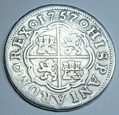 1757 Spanish Silver 1 Reales Piece of 8 Real Colonial Era Pirate Treasure Coin