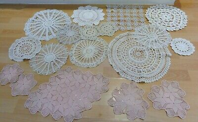 JOB LOT VINTAGE CROCHET MATS DOILIES  table/ dressing table/sideboard  18 in all