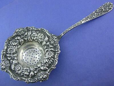 Early RARE Sterling STIEFF Tea Strainer STIEFF ROSE w/ repousse floral patterns