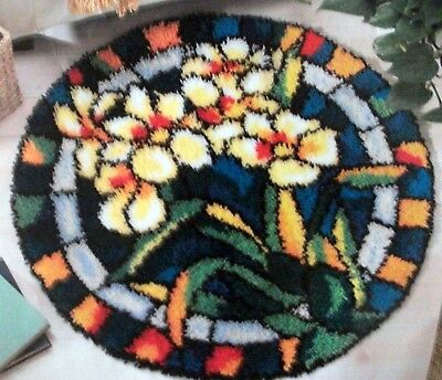 """Craftways  Latch Hook Rug  Kit """"White Orchids Stained Glass"""""""