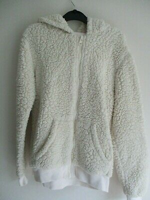 H&M Girls Cream Faux Fur Zip Front Bunny Jacket.age 12-14 Years.