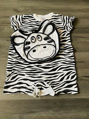 Next Zebra Short Sleeved Romper With Matching Bib 0-3 Months