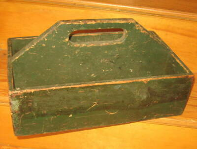 Wonderful Antique Primitive Carrier, Handsome Form, Great Green Paint Aafa Nr