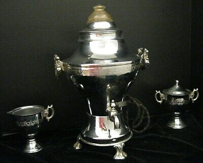 Antique Silver Plated United 840A Coffee Urn Percolator With Sugar And Creamer