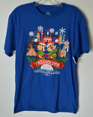 Disney Parks Epcot Festival Of The Holidays Chip & Dale Passholder Shirt Large