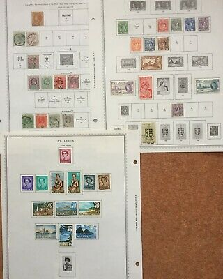 St Lucia collection of 59 mint or used stamps on 6 album pages (QV - QEII)