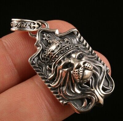 Rare China 925 Silver Pendant Statue Lion Hand-Carved Mascot Collection Gift