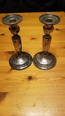 Pair Vintage INTERNATIONAL SILVER Co. Silverplated Candlestick Holders