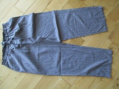M&S AUTOGRAPH Mens 100% Cotton Grey Stripe Pyjama Bottoms size L W 36-38""