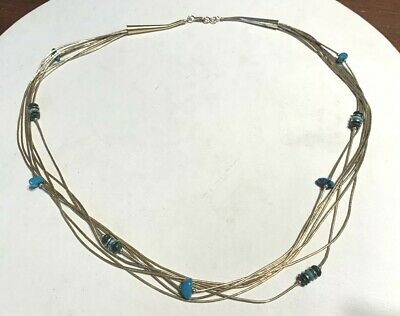 Vtg Gold Vermeil Liquid Silver Native Malachite Turquoise Necklace, 24""