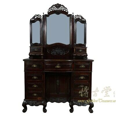 Antique Chinese Carved Vanity, Dressing Table with Mirror