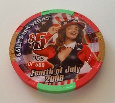 $5 Las Vegas Bally's 4th of July Casino Chip - Uncirculated