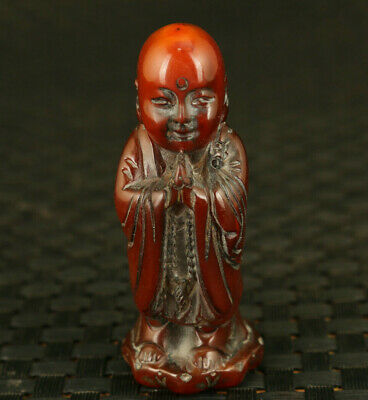 Chinese rare old yak horn hand carving monk statue pendant noble decorate gift