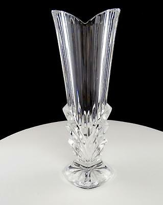 "Bohemian Czech Crystal Vertical Lines & Arches 8 1/4"" Square Base Bud Vase"