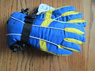 Boy's THINSULATE Waterproof GLOVES~Blue & Yellow~Size 4-7~NEW w/tags