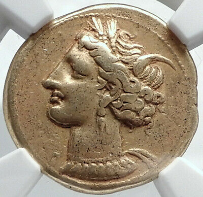 CARTHAGE Genuine Ancient 320BC Electrum Gold Silver Alloy Greek Coin NGC i81770