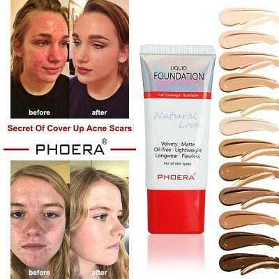 PHOERA Matte Liquid Skin Foundation Full Coverage Long Lasting Light Face Makeup