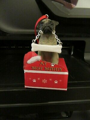My Best Buddy Fawn Pug with Bone Christmas Ornament E&S Pets