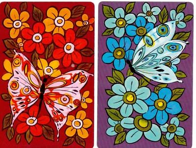 Playing cards swap card single vintage butterflies
