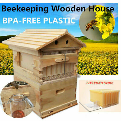 7PCS Upgraded Auto Honey Bee Hive comb Frame+Wooden Beekeeping Beehive House Set