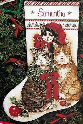 Dimensions Decorated Kitties Cat Christmas Counted Needlepoint Stocking Kit 9102