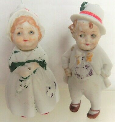 "Antique Bisque PAIR of German NODDER 3"" Mini Dolls / Figurines, Germany"