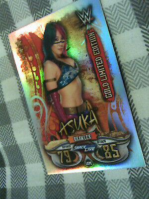 Topps Slam Attax Live Asuka Rare Gold Limited Edition Card WWE