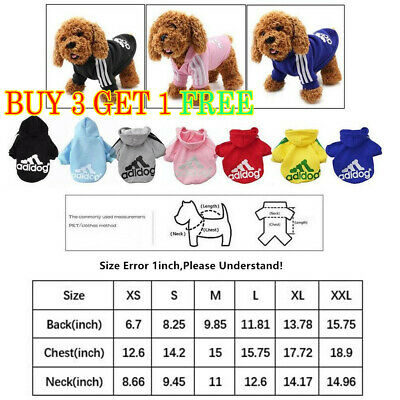 Cute Adidog Hoodies Female/Male Small Dogs Outfits Apparel Dog Clothes Warm Hot