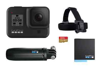 GoPro HERO8 Black Bundle with 32GB SD Card, Extra Battery, Shorty Mount & Head