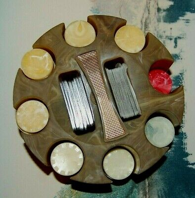 Antique Bakelite (Catalin) Marbled  Poker Caddy & Chips