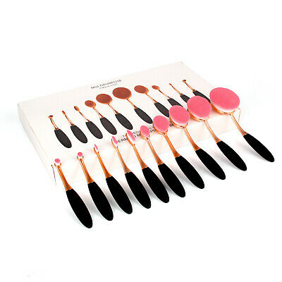 10 Professional Makeup Brushes Set Oval Cream Puff Toothbrush Brush Black Gold