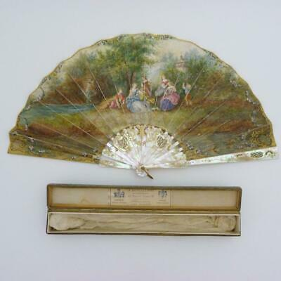 Antique Duvelleroy Paper Hand Fan, Signed Nelly,  In Original Box