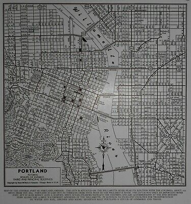 *Vintage World War WWII Era 1944 World Atlas City Map Portland, Oregon OR Nice*