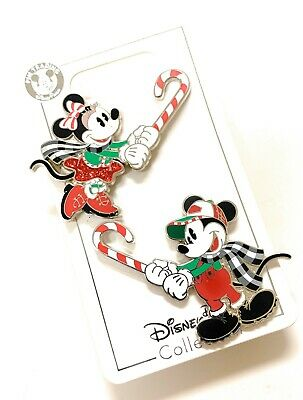 Disney Parks Mickey Minnie Holding Peppermint Candy Cane Christmas Pin Set NEW