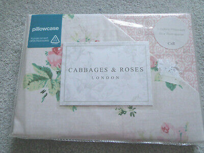 Cabbages and Roses Clementine Pair of Oxford Pillowcases 50cm x 75cm - NEW