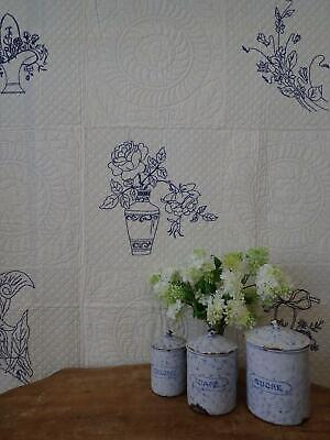 A Quilting Showpiece! GIFT QUALITY Antique Blue Embroidered Basket QUILT