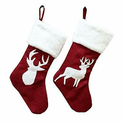 WODECASA Burlap Christmas Stockings, Reindeer (One Size/18 inch|2 Pack)